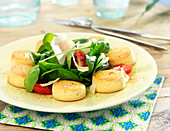 Parmesan shortbreads, spinach,cherry tomato and parmesan flake salad
