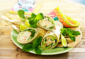 Surimi and mint wraps
