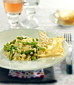 Wheat risotto with aspargus