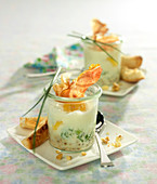Shirred eggs with Roquefort cream and raw ham crisps