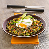 Green lentil, smoked trout and poached egg