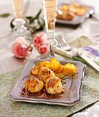 Caramelized Scallops,Vinegar And Pink Pepper Sauce,Sweet Potato Crisps