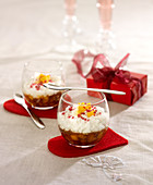 Caramelized exotic fruit and coconut Japanese pearl puddings