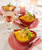 Chicken curry with saffron rice