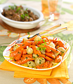 Braised spring carrots and onions with chervil