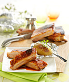 Spare ribs grilled with barbecue sauce