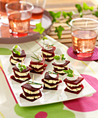 Herb fromage frais and beetroot mini layer appetizers