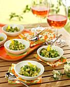 Pea and mint pesto shell pasta risotto
