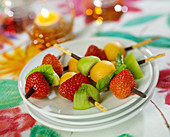 Fresh fruit Mikado biscuit brochettes