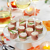 Chive fromage frais boiled ham rolls