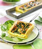 Spinach,cream cheese and Parma ham quiche