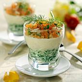 Watercress mousse,celeriac mousse and salmon tartare cocktail