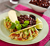 Chicken, avocado and red kidney bean tacos