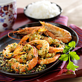 Shrimps with green, pink and Cayenne pepper, paprika and coriander