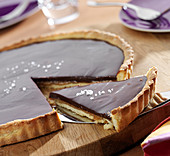 Chocolate and salted butter toffee tart