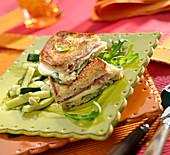Courgette, raw ham and mozzarella farmhouse bread toasted sandwich