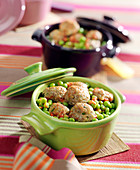 Lamb meatball and pea small Tajine