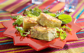 Potato and boiled ham tortilla bites