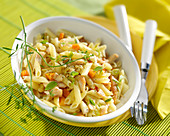 Pan-fried pasta chicken and carrots