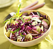 Lentil, red cabbage, white grape, bleu d'Auvergne cheese and tarragon salad