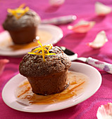 Chocolate fondant with orange sauce