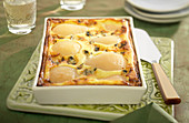 Roquefort, brousse cheese and pear bake