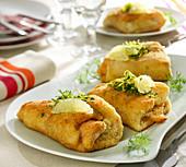 Cordon-bleu-style smoked salmon and pollock rolls
