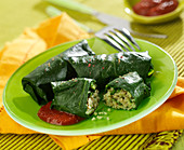Swiss chard rolls stuffed with semolina and two meats