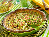 Pea and diced bacon quiche