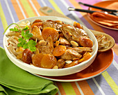 Chicken, dried apricot, almond and onion Tajine
