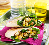 Curried chicken and spinach pita sandwiches