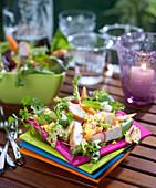 Multicolored mixed chicken salad