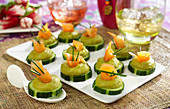 Cucumber,creamed avocado and smoked salmon appetizers