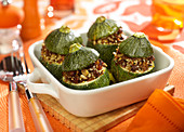 Oriental-style stuffed round courgettes