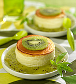 Small fromage blanc cake with kiwi coulis