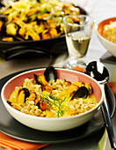 Curried wheat and mussels