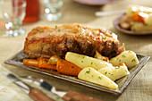 Palette de porc with parsnips and carrots