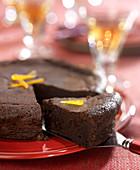 Dark chocolate cake with candied orange peel