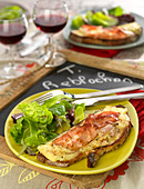 Reblochon and smoked bacon grilled open sandwich