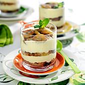 Banana,Apple And Toffee Cake Tiramisu With Caramelized Banana Slices