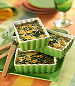 Spinach and shrimp small flans