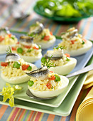 Hard-boiled eggs garnished with rice, vegetable and anchovy salad