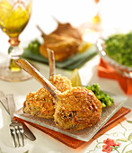 Lamb chops coated in parmesan, broccoli mash