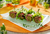 Beef and pesto rolled appetizers