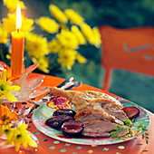 Roasted duck with plums