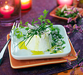 Faisselle with fresh herbs and shallots