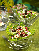 Crisp Vegetable,Feta And Crab Meat Salad With Minty Yoghurt Sauce