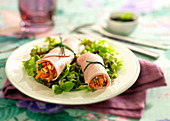 Spring Roll-Style Ham And Raw Vegetable Rolls
