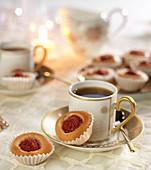 Raspberry mini Financiers and a cup of coffee