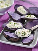 Purple potatoes with horseradish sauce